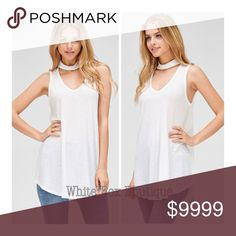 "White Choker Neck Tank White Choker Neck Tank. Ribbed material, V Neck detail. Lightweight & airy. Perfect for layering or wearing alone. 65% Polyester 35% Rayon. Available in White, Oatmeal & Black. Gorgeous flowy boho fit with tunic length. This is a must have! Bust Large: 23"" flat underarm to underarm Tops Tunics"