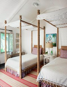Those poms! Love these twin beds. Tom Sheerer decorated room featured in Because It's Awesome