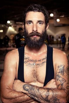 full thick dark beard and huge mustache beards bearded man men mens' style tattoos tattooed handsome #beardsforever