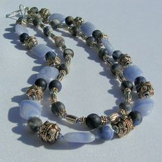Two-strand Sodalite and Angelite necklace