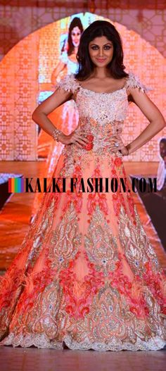http://www.kalkifashion.com/ Shilpa Shetty as the show stopper in a pastel embroidered gown by Rohit Verma.