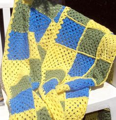 On Sale! Hand Crochet Afghan Throw  Blue/ Green /Yellow by HeavensDesign. Great gift idea! Bright and colorful. Super soft. Ready to go now. Check it out!  https://www.etsy.com/listing/204016245/on-sale-crochet-afghan-throw-blue-green?ref=shop_home_active_18