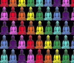 Rainbow Buddhas fabric by leahvanlutz on Spoonflower - custom fabric