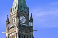 The Canadian Parliament Peace Tower at 6:00 p.m. in Ottawa, Canada.