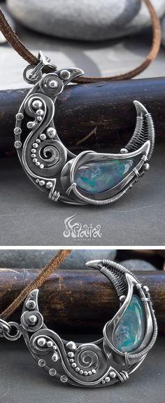 Opal moon pendant //