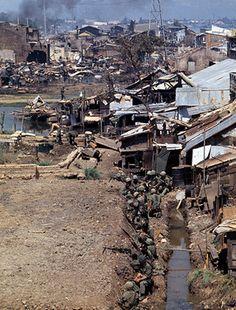 U.S. troops in a slum in Saigon during the Tet offensive, Feb 1968. ~ Vietnam War