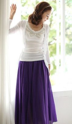 purple shirt with white layered tees