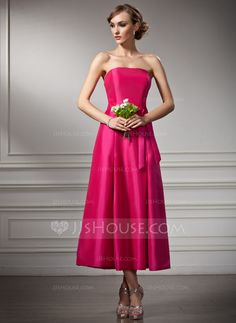 Bridesmaid Dresses - $86.99 - A-Line/Princess Strapless Tea-Length Taffeta Bridesmaid Dress (007020875) http://jjshouse.com/A-Line-Princess-Strapless-Tea-Length-Taffeta-Bridesmaid-Dress-007020875-g20875