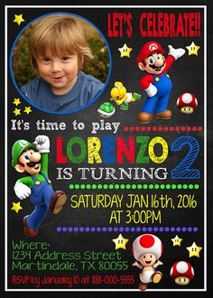 Invitations Super Mario Invitation Super by fiestaprintable