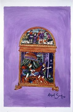 Joseph  Painted from a 16th Century enamelled casket from Limoges, showing scenes from the Israelites' descent into Egypt. On the lid is Joseph and his brothers; on the side is Joseph escaping from Potiphar's wife.  Available for purchase through my website  #jewishart #mystic #artist