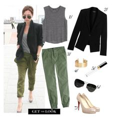 """""""Get The Look: Posh"""" by mplusk ❤ liked on Polyvore featuring Victoria Beckham, J.Crew, MANGO, Donna Karan, Ray-Ban, Christian Louboutin and H&M"""