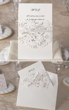 vintage inspired laser cut lace wedding invitations