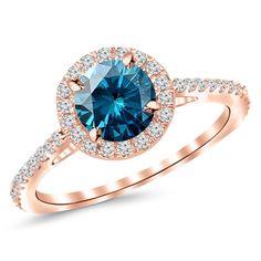 Blue Diamond in Rose Gold