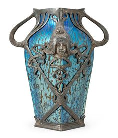 ❤ - Loetz | A metal mounted Loetz iridescent glass vase - Art Nouveau.