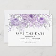 Lavender Purple White Silver Flower Save The Date Christmas Wedding Invitations, Engagement Party Invitations, Save The Date Invitations, Save The Date Cards, Wedding Cards, Wedding Napkins, Wedding Rsvp, Shower Invitations, Wedding Stationery