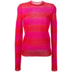 Isabel Marant Étoile 'Gresham' sweater (£109) ❤ liked on Polyvore featuring tops, sweaters, red, round neck sweater, red long sleeve top, red sweater, long sleeve sweaters and ribbed sweater