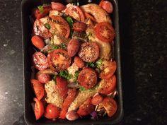 Frango com legumes ao forno