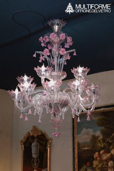 #Artistic glass #chandelier. Crystal body with pink details. Hard-paste flowers and pendants.