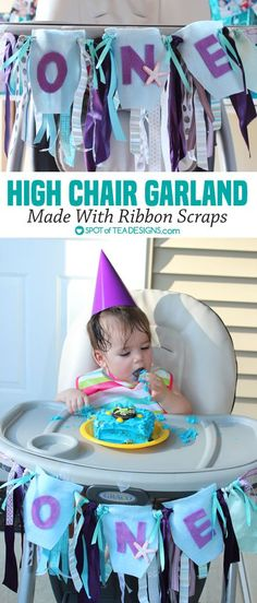 Ribbon Scrap High Chair Garland for First #Birthdayparty Tutorial…