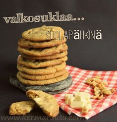 cookies, white chocolate, salt walnuts No Bake Cookies, Baking Cookies, No Bake Desserts, White Chocolate, Cookie Recipes, Sweet Tooth, Muffins, Brunch, Food And Drink