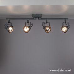 Stoere plafondlamp industrieel betonlook - www.straluma.nl Track Lighting, Indoor, Ceiling Lights, Led, Interior Design, Bathroom, Home Decor, Google, Interior