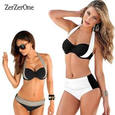 9d78c128e972c Bikinis Bohemian Female Swimwear Women Push up Swimsuit High Waist Bikini  Halter Top Bikini Set Beach Bathing Suit Swim Biquini