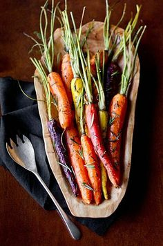 I love roasted carrots and the multi color make them even more beautiful.  Kids will love these!