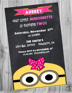 Check out this item in my Etsy shop https://www.etsy.com/listing/245723356/minionette-birthday-chalkboard