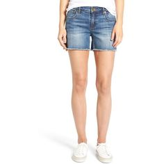 Women's Kut From The Kloth Gidget Denim Shorts (230 BRL) ❤ liked on Polyvore featuring shorts, consolidated, petite, short cut off jean shorts, kut from the kloth shorts, cut-off shorts, cut-off denim shorts and summer shorts