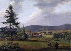 Frogner Hovedgård ca. 1840, etter Wegners ombygging. Paviljongen til høyre ble av Wegner tilflyttet fra Modum. Malt av: Ferdinand Gjøs