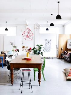 Get the Look: An Artistic Couple's Lofty Dining Room via @MyDomaine