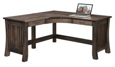 Amish Mission Liberty Deluxe L Desk Lots of space to work at. The Mission Liberty boasts the finest craftsmanship and premium quality solid wood. Option to add an organizer on top for additional storage. #Ldesk #desks #wooddesk