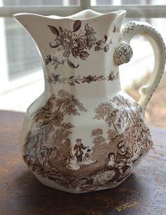 Mason's Romantic Brown Transferware Pitcher Roses Scrolls Victorian Watteau Large Hydra Jug