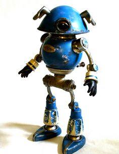 Rinky Tink by Tinkerbots (Dan Jones) Vintage Robots, Retro Robot, Arte Robot, I Robot, Recycled Robot, Recycled Art, Sculpture Art, Sculptures, Art Of Dan