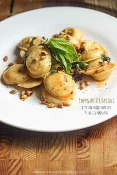 Brown Butter Ravioli with Sun-Dried Tomatoes & Toasted Pine Nuts