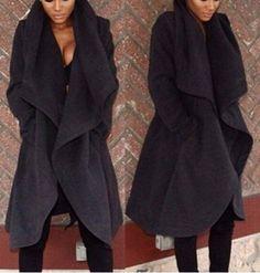 Chic Turn-Down Collar Long Sleeve Pure Color Irregular Hem Coat For WomenCoats | RoseGal.com