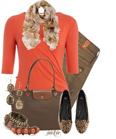 """Coral and Brown"" by jackie22 on Polyvore"