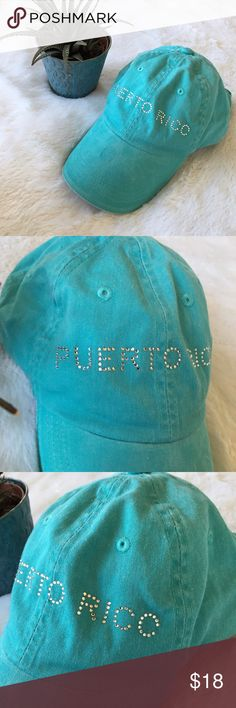 Blue Puerto Rico Cap, Baseball Hat, Jewels Gems Bright blue Baseball Cap from Puerto Rico! Silver gems across the front. Velcro, adjustable strap. Will fit almost any size head. Clean inside. A spot on the top of the brim as shown. Otherwise in amazing condition! :) Accessories Hats