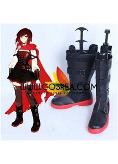 Anime RWBY Ruby Rose Season 1 Cosplay Costume Wigs Bandage Boots Shoes Full Set