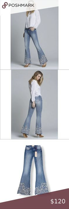 """COPY - DRIFTWOOD Colette Embroided High-rise Jeans DRIFTWOOD Colette Embroidered Flared Jeans  New with tags  - Size:: 29, 31, 33  - Five pocket style - Button closure - Zip fly - Cotton/polyester/spandex - Rise: 10"""" - waist Approx: 34"""" - Hips Approx: 43"""" - Inseam Approx: 34"""" DRIFTWOOD Jeans Flare & Wide Leg"""