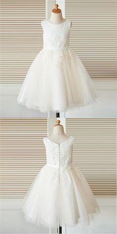 Scoop White Sleeveless Unique New Flower Girl Dresses, Junior Bridesmaid Dresses, FG090