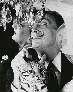 Salvador Dali's pet ocelot, Babou accompanied the artist everywhere. #NationalPetDay Image: Edward Pfizenmaier. Salvador Dali with ocelot, 1953.