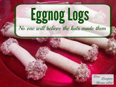 Kids can make this  yummy Eggnog Logs!