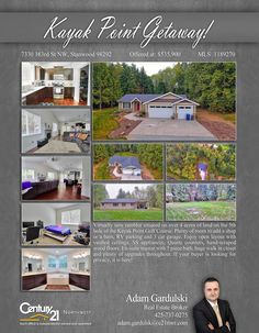 PRICE CHANGE  Virtually new rambler situated on over 4 acres of land on the 5th hole of the Kayak Point Golf Course. Plenty of room to add a shop or a barn, RV parking, home has 3 car garage.  Contact Adam Gardulski @ (425) 737-0275 MLS # 1189270 http://7330163rdstnw.c21.com/