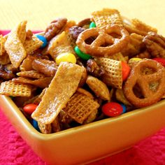 Sweet 'n Salty Snack Mix (sub in honey (vs corn syrup), almonds, and snow caps (vs m)