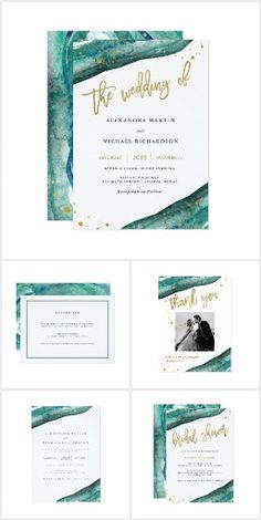 Teal Watercolor Geode Wedding. Invitation suite with faux gold lettering #Ad