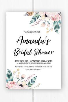 Boho bridal shower invitation printable, bridal shower ideas, feather bridal shower invite from Pink Summer Designs on Etsy