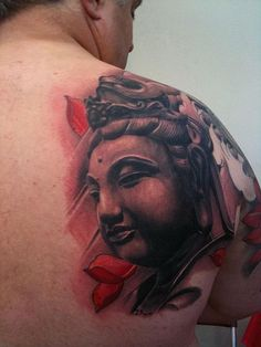 Want a realistic Buddha tattoo on your back? Well then this design is absolutely for you. It's in 3D so it would appear much more alive and ready to guide you to enlightenment.