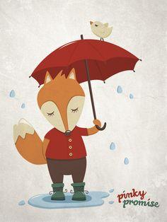 Klein vosje in de regen | pinky promise
