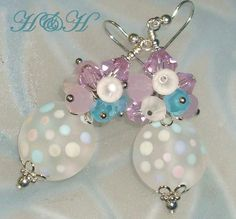 Pastel Polka Dots - Lampwork and Crystal Earrings from hhjewelrydesigns on Ruby Lane